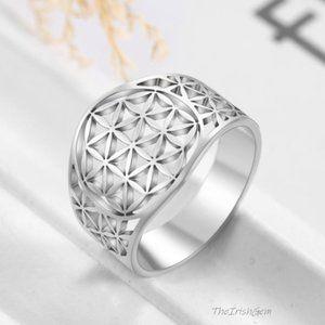 Stainless Steel Flower of Life Ring